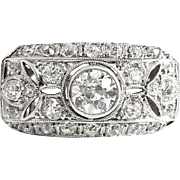 Vintage Art Deco 1930's Old European Cut Diamond Filigree Anniversary Engagement Ring Platinum