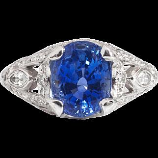 Estate Vintage 1990's Blue Sapphire Diamond Hand Engraved Platinum Wedding Engagement Birthstone Anniversary Ring