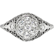 Art Deco 1930's Vintage Diamond Engagement Anniversary Ring 18k Filigree White Gold