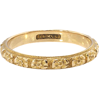 Art Deco Vintage 1930's Floral Eternity Wedding Ring Band 18k Yellow Gold Size 7.25