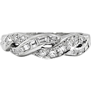 Vintage Retro Estate 1940's Mixed Baguette & Single Cut Diamond Wedding Infinity Stacking Band Ring 14k White Gold