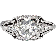 Art Deco Vintage 1930's GIA Certified Diamond Engagement Wedding Anniversary Ring Platinum