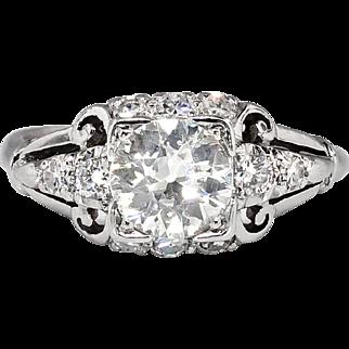 Art Deco Vintage 1930's GIA Certified Diamond Engagement Wedding Anniversary Ring Platinum