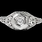 Art Deco Vintage 1930's Old European Cut Diamond Engagement Wedding Ring 18k White Gold