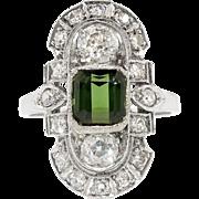 Edwardian Vintage 1920's C.D. Peacock Green Tourmaline Old European Cut Diamond Navette Cocktail Birthstone Ring Platinum