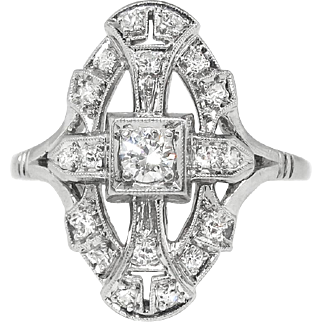Art Deco 1930's Vintage Estate Jabel Diamond Navette Cocktail Anniversary Birthstone Engagement Ring Platinum