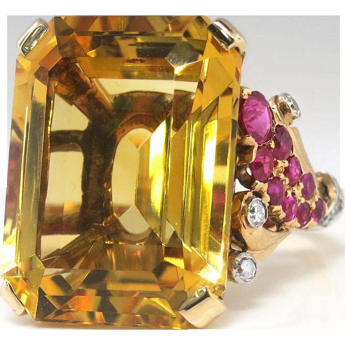 Vintage Retro Estate 1940's Citrine Ruby Diamond Cocktail Birthstone Statement Ring 14k Rose Gold Platinum