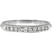 Art Deco 1930's Vintage Ten Stone Diamond Milgrain Channel Set Wedding Band Stacking Ring Platinum