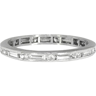 Rare 1950's Mixed Cut Baguette Round Diamond Eternity Wedding Band Stacking Ring Size 5.25 Platinum