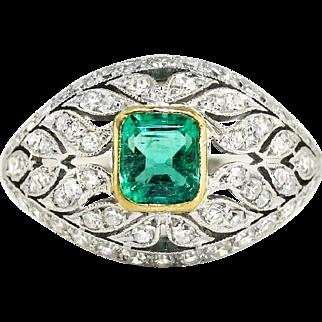 Art Deco 1930's Vintage Emerald Diamond Cocktail Anniversary Birthstone Engagement Ring Platinum 18k Yellow Gold