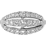 Retro Vintage 1940's Three Row Diamond Vintage Wedding Stacking Anniversary Band Ring 14k White Gold