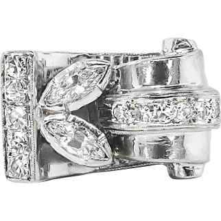 Vintage Retro 1950's Marquise Mixed Cut Diamond Cocktail Pinky Ring 14k White Gold