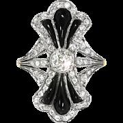 Art Deco Vintage 1930's Onyx Old Mine European Single Cut Diamond Cocktail Anniversary Birthstone Ring 14k Yellow White Gold