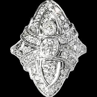 Antique Edwardian Vintage 1920's Old European Cut Diamond Engagement Anniversary Cocktail Ring Platinum