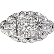 Art Deco 1930's Vintage Old European Cut Diamond Halo Cluster Engagement Wedding Anniversary Ring Platinum