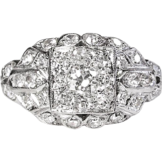 Art Deco 1930's Vintage Old European Cut Diamond Halo Cluster Engagement Wedding Anniversary Ring Platinum