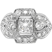 Art Deco Vintage 1930's Old Transitional Cut Diamond Engagement Anniversary Cocktail Platinum Ring