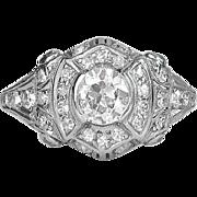 Art Deco Engagement Ring Vintage 1930's Old European Cut Diamond Filigree Halo Engagement Wedding Anniversary Ring Platinum