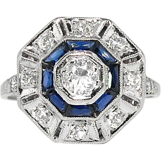 Art Deco 1930's Vintage Estate Old European Cut Diamond Lab Sapphire Double Halo Engagement Anniversary Birthstone Cocktail Ring Platinum