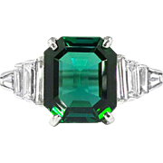 Estate Verdelite Brazilian Green Tourmaline Baguette Diamond Cocktail Birthstone Engagement Anniversary Ring Platinum