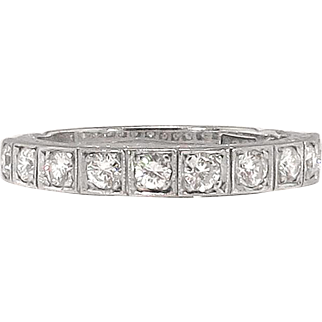 Vintage 1940's Retro Wedding Band Ten Diamond Wedding Stacking Anniversary Band Ring 18k White Gold