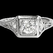Art Deco Engagement Ring Circa 1930's J.E. Caldwell & Co. Old European Cut Diamond Platinum Wedding Ring