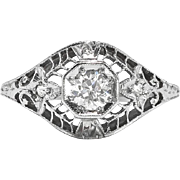 Art Deco Vintage 1930's Old European Cut Diamond Engagement Wedding Platinum Filigree Ring