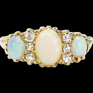 Antique Opal Diamond Ring Circa 1890's Victorian 3 Stone Opal Old Mine Cut Diamond Ring 18k Yellow Gold