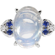 Vintage 1950's Moonstone Ring With Diamonds And Blue Sapphires 14k White Gold Ring