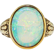 Antique Opal Ring Art Nouveau Arts & Crafts 1900's Opal Jones Woodland Ring 18k Yellow Gold