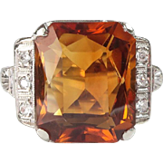 Art Deco Emerald Cut Citrine Diamond Ring Circa 1930's Vintage Filigree Birthstone Ring 14k White Gold