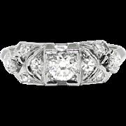 Vintage 1930's Art Deco Granat Bros. Old European Cut Diamond Engagement Wedding Anniversary Ring 18k White Gold