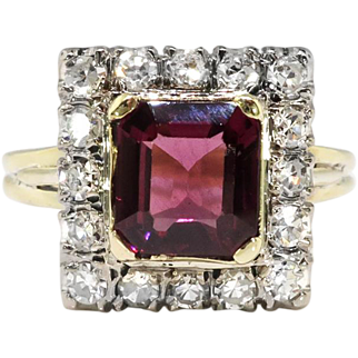 Vintage Emerald Cut Garnet Diamond Halo Engagement Ring Circa 1950's 14k Yellow White Gold