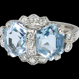 Vintage Blue Topaz Diamond Ring Circa 1940's Retro Bow Wedding Something Blue Ring Palladium