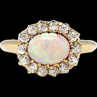 Antique Opal Diamond Ring Circa 1890's Victorian Old European Cut Diamond Halo Ring 14k Rose Yellow Gold