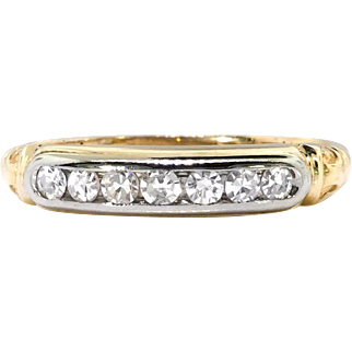Art Deco Wedding Band Circa 1930's .14ct t.w. Seven Diamond Wedding Band 14k Yellow White Gold