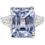 Vintage Emerald Cut Natural Periwinkle Blue Sapphire Diamond Platinum Engagement Anniversary Birthstone Ring