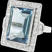 Estate Emerald Cut Aquamarine Diamond Milgrain Halo Birthstone Unique Engagement Anniversary Ring Platinum