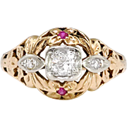 Art Deco Engagement Ring Circa 1930's Vintage Old European Cut Lab Ruby Engagement Wedding Unique Ring 14k Rose Gold