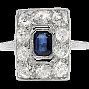 Edwardian Sapphire Diamond Ring Antique Circa 1920's Emerald Cut Blue Sapphire Diamond Engagement Wedding Anniversary Ring Platinum