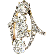 Antique Edwardian Diamond Ring Circa 1920's Unique Old European Cut Diamond Engagement Anniversary Ring 14k Gold Platinum