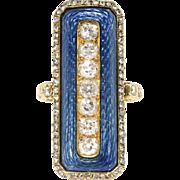 Antique Edwardian Diamond Ring Vintage Circa 1920's Blue Enamel Old Mine Cut Rose Cut Diamond 18k Yellow Gold Cocktail Ring