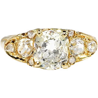 Old Mine Cushion 2.10ct t.w. Diamond Ring Circa 1950's Victorian Style Engagement Anniversary Ring 18k Yellow Gold