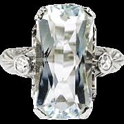 Art Deco Vintage 1930's Aquamarine Diamond Anniversary Engagement Birthstone Cocktail Filigree 18k White Gold Ring