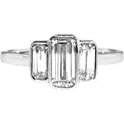 Art Deco Emerald Cut Ring Circa 1930's Vintage Three Stone Diamond Anniversary Engagement Wedding Ring 18k White Gold