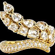 Unique Rose Cut Ring Vintage Pave' Diamonds Serpent Wrap Cocktail Unique Statement Ring 18k Yellow Gold