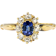 Antique Sapphire Diamond Ring Circa 1900's Edwardian Blue Sapphire & Old European Cut Diamond Halo Engagement Ring 18k