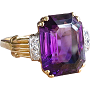 Vintage Emerald Cut Amethyst & Diamond Retro 1950's Cocktail Anniversary Ring 14k Yellow Gold Platinum