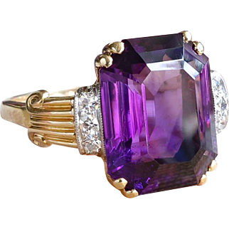 Vintage Emerald Cut Amethyst & Diamond Retro 1950's Cocktail Anniversary Ring 14k Yellow Gold Platinum