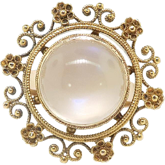 Victorian Antique 7ct Moonstone Ring Circa 1880's Cannetille 14k Yellow Gold Cocktail Birthstone Statement Ring